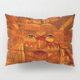Indigenous Inca Sun God Inti portrait painting by Ortega Maila Pillow Sham