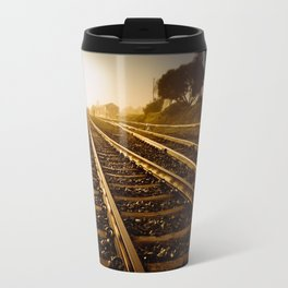 Railway Tracks at sunrise and twilight sky Travel Mug