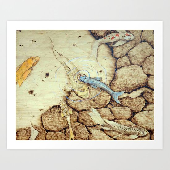 Ode to the Blue Koi Art Print