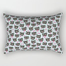 black pugs and hearts cute pug Rectangular Pillow