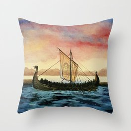 Drakkar, watercolor Throw Pillow