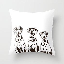 Three Dalmatians Dogs Throw Pillow