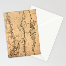 Map Of The Hudson River 1777 Stationery Cards