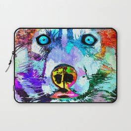 Husky Dog Watercolor Grunge Laptop Sleeve