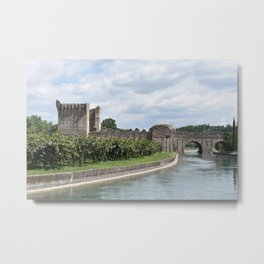 Scenic view of the Visconti bridge with vineyards Metal Print