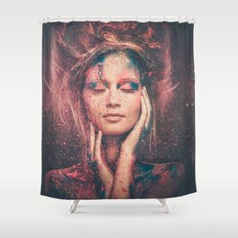 Young woman muse with creative body art and hairdo (1) Shower Curtain