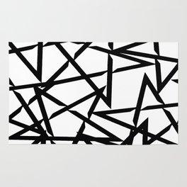 Interlocking Black Star Polygon Shape Design Rug