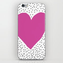 Pink heart with grey dots around iPhone Skin