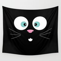 meow Wall Tapestries featuring Meow by TheWildPlum