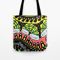 psycho Tote Bags featuring Psycho by Saif Chowdhury