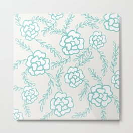 Large Blue Floral Metal Print