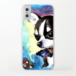 Little Dog Space Portrait 1 Clear iPhone Case