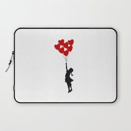 Girl With Heart Balloons Laptop Sleeve