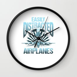 Easily Distracted By Airplanes Aviation Pilot Pun Wall Clock
