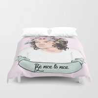 coconutwishes Duvet Covers featuring Be nice to nice by Coconut Wishes