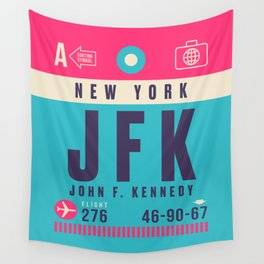 Retro Airline Luggage Tag - JFK New York Wall Tapestry