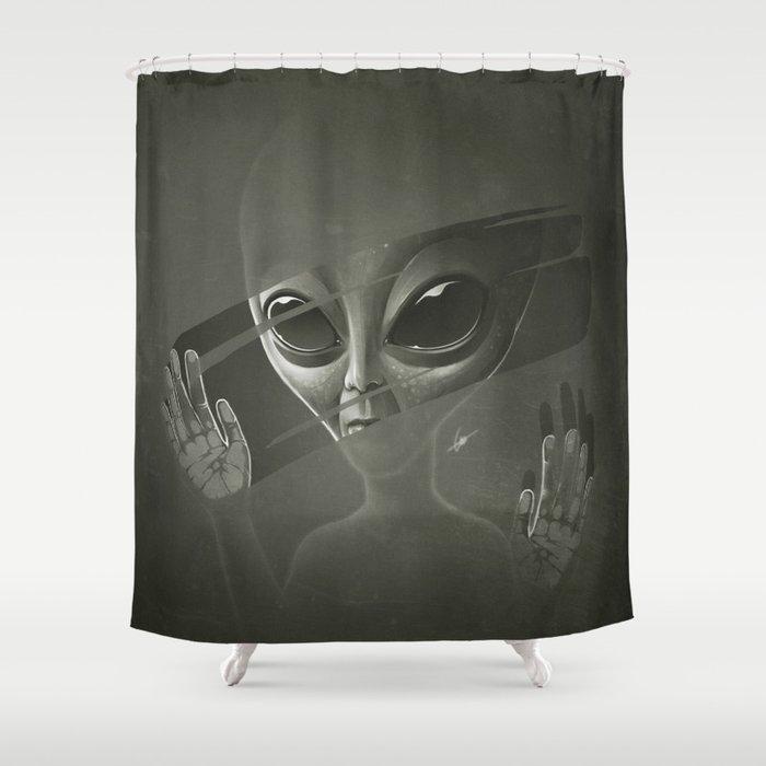 Alien Shower Curtain By Lukasbrezak
