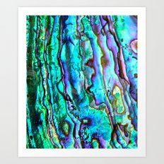 Glowing Aqua Abalone Shell Mother of Pearl Art Print