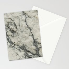 The white stone with dark grey veins Stationery Cards