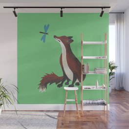 Fox and Dragonfly Wall Mural