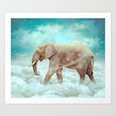 Walk With the Dreamers (Elephant in the Clouds) Art Print