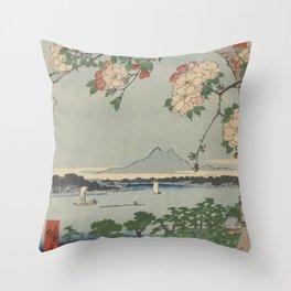 Cherry Blossoms on Spring River Ukiyo-e Japanese Art Throw Pillow