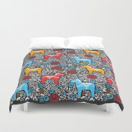 Dalecarlian Dala horse traditional wooden horse statuette originating in Swedish province Dalarna Duvet Cover