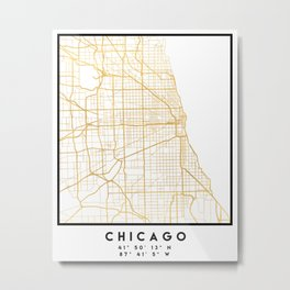 CHICAGO ILLINOIS CITY STREET MAP ART Metal Print