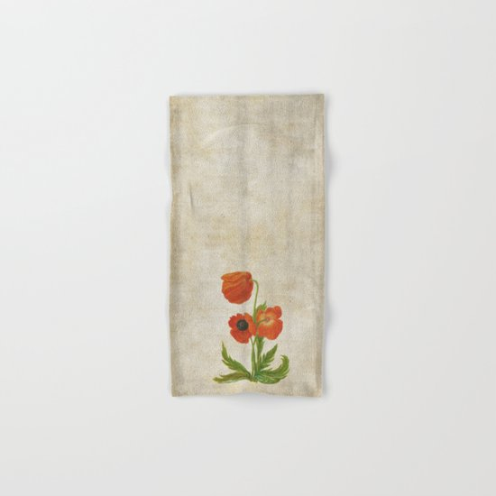 Vintage painting- Bunch of poppies Poppy Flower floral Hand & Bath Towel