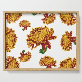 Floral Theme- Chrysanthemum Watercolor Flower Serving Tray