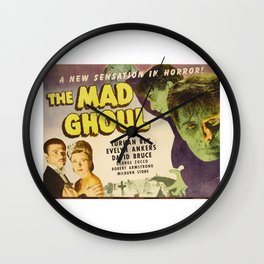 The Mad Ghoul, vintage horror movie poster Wall Clock