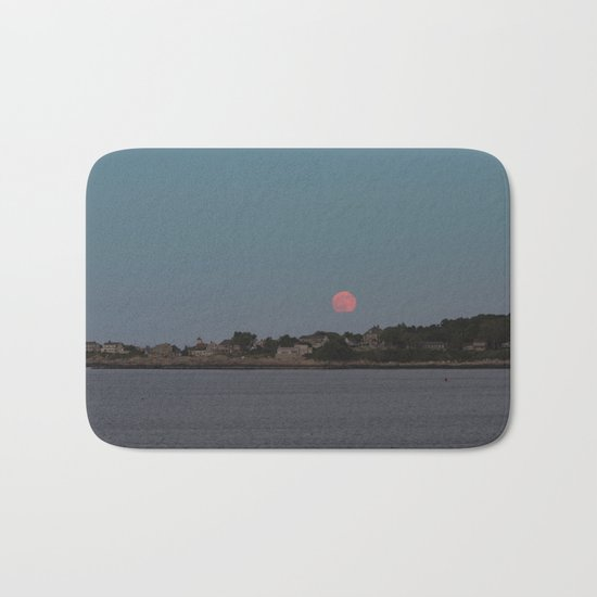 Full Strawberry Moon Rising over Rockport Bath Mat