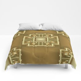 Gold and Cream Geometric Pattern  Comforters