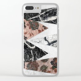 Modern Chic Black White Marble and Rose Gold Geo Clear iPhone Case