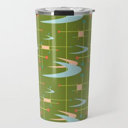 Mid Century Modern Boomerangs on Lime Green Travel Mug
