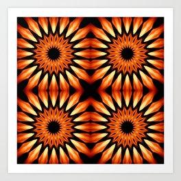 Orange & Black Pinwheel Flowers Art Print