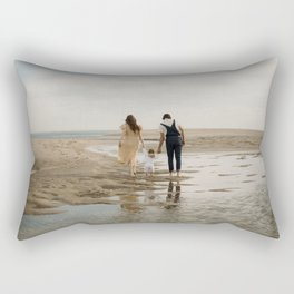 Golden hour on the beach | Man, woman and child| Reflection| Fine art travel photography print Rectangular Pillow