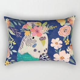 Parakeet with Floral Crown Rectangular Pillow
