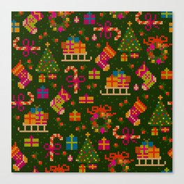 christmas x stitch pattern for the holiday mood Canvas Print