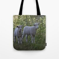 silence of the lambs Tote Bags featuring Little Lambs by Dawn OConnor