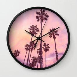 Palms to Pink World Wall Clock