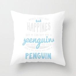 Happiness Penguin Jackass Emperor Short Legged Birds Antarctic Flippers Aquatic Gift Throw Pillow
