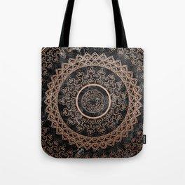 Mandala - rose gold and black marble Tote Bag