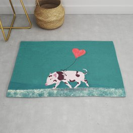 Baby Pig With Heart Balloon Rug