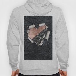Modern Torn Paper Heart and Rose Gold Marble Hoody