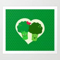 Broccoli in love Art Print