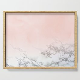 Blush Pink on White and Gray Marble III Serving Tray