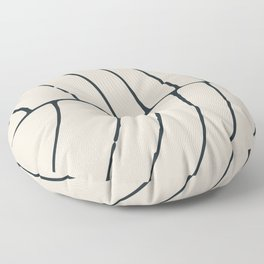 Sections, Circles and Lines, Charcoal Gray on Cream Floor Pillow