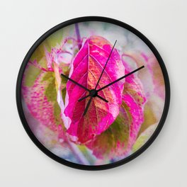 PINK LEAF Wall Clock