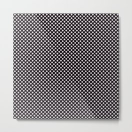 Black and Orchid Ice Polka Dots Metal Print